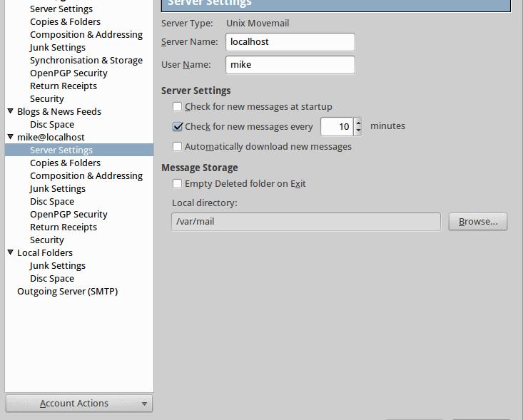 Einrichtung IMAP-Server